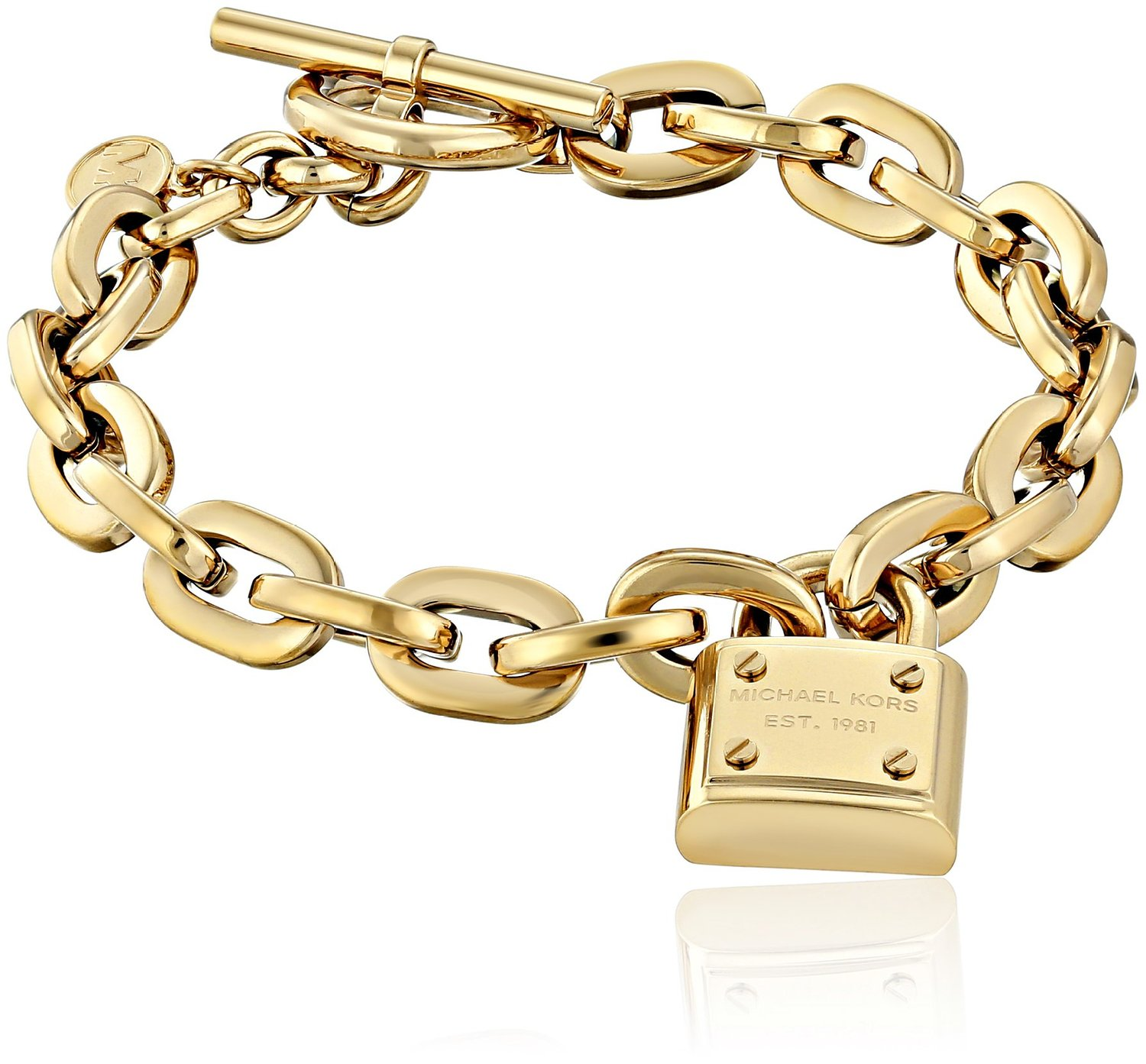 new michael kors gold chain toggle bracelet mk logo charm padlock mkj3311 ebay. Black Bedroom Furniture Sets. Home Design Ideas