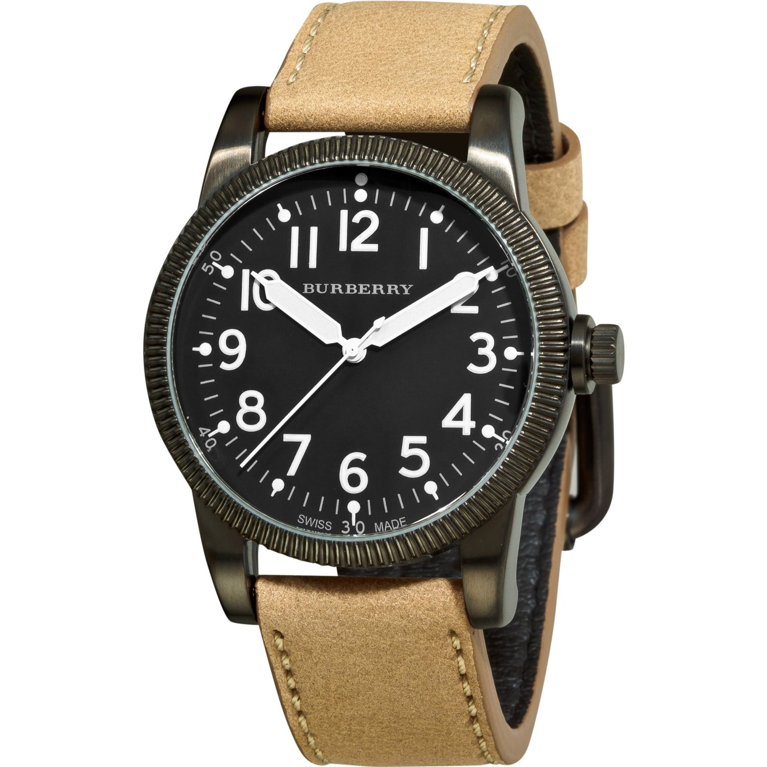 *New* BURBERRY Mens Watch Brown Leather Military Steel ...