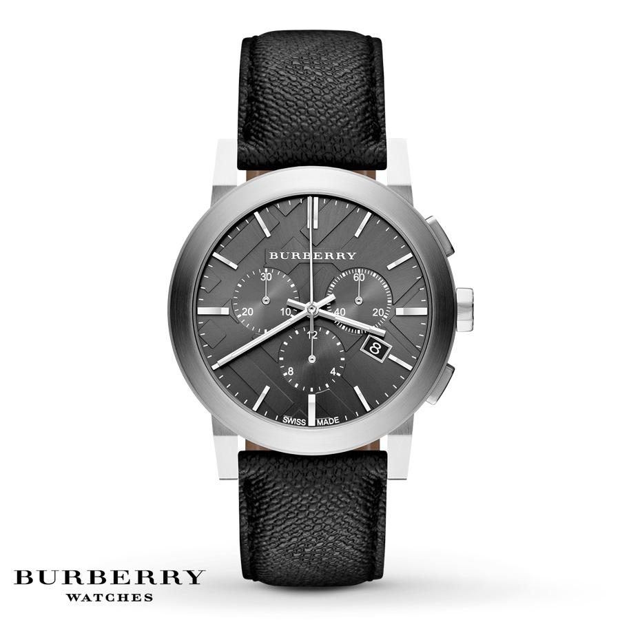 NIB BURBERRY Mens Watch The City Black Leather PVC Silver ...